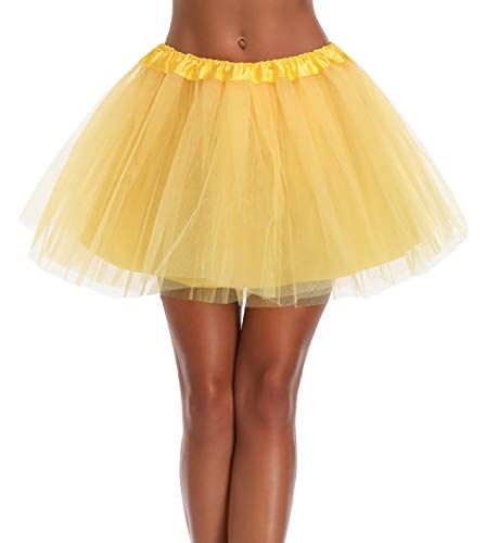 v28 Women's, Teen, Adult Classic Elastic 3, 4, 5 Layered Tulle Tutu Skirt (One Size, 4Layer-Yellow) -
