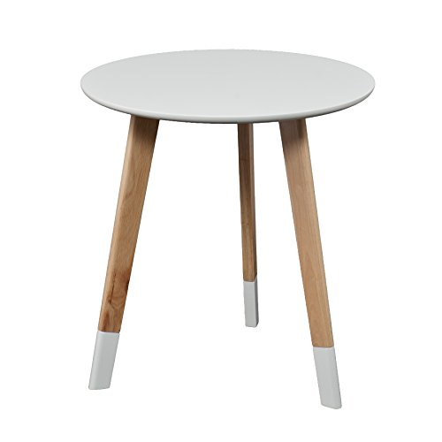 Neelan Round Table - Glossy White Finish w/ Natural Accents - Midcentury Eclectic Style