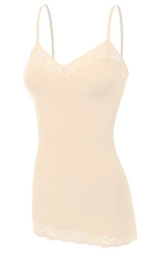 Bozzolo Women's Lace Neck Camisole Top, Small, New Taupe