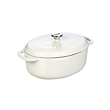 Lodge EC7OD13 Enameled Cast Iron Oval Dutch Oven, 7 quart, Oyster White