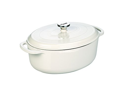 Lodge EC7OD13 Enameled Cast Iron Oval Dutch Oven, 7-Quart, Oyster White - Porcelain Coated Stainless Steel Cooktop