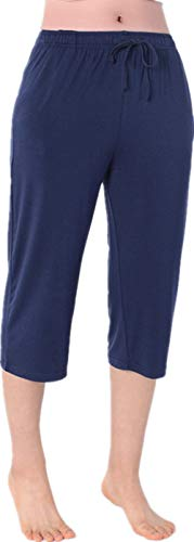 Nuosha-BABY Womens Pajama Capri Pants Soft Sleepwear Bottoms with Big Pockets Navy L