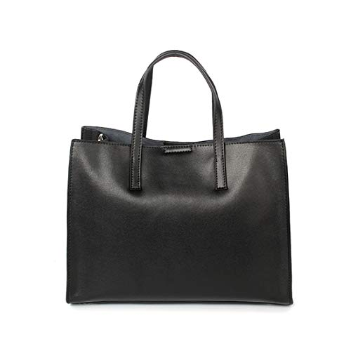 Color Black Capacidad Para De Bolso Gran Mujer color Ocasional Ploekgda Cuero Bolsa Sólido Black Mano nf6YAqxw