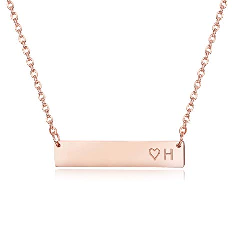 Finrezio Rose Gold Plated Stainless Steel Initial Heart Bar Necklace Alphabet Pendant Necklace for Women Girls Necklace Letter H