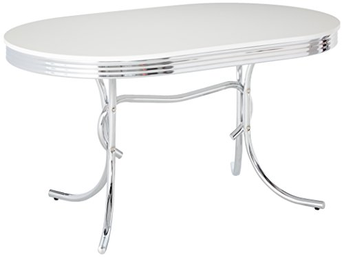 Coaster 50's Retro Nostalgic Style Oval Dining Table, Chrome (Diner Table)