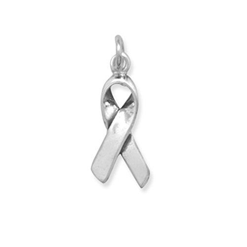 Awareness Ribbon Charm Pendant Antiqued Sterling Silver
