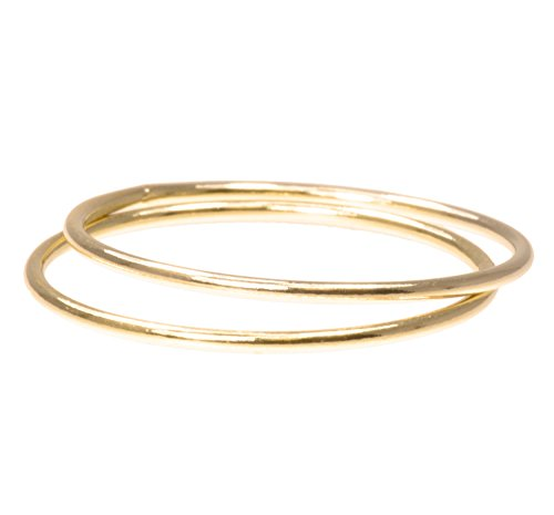 uGems 2 14K Gold Filled Stacking Rings 1mm Round Size - Gold Stackable