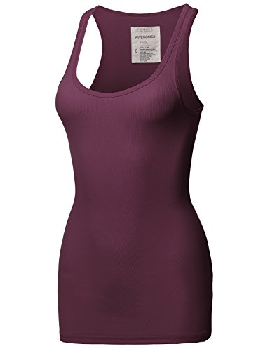 Awesome21 Solid Basic Scoop Neck Racer-Back Ribbed Tank Top Plum Size ()