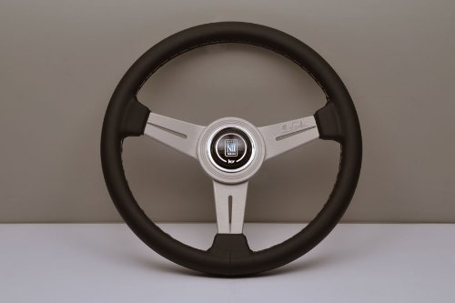 Nardi Steering Wheel - Classic - 330mm (12.99 inches) - Black Leather with Grey Stitching and White Anodized Spokes - Aluminum Ring - Part # 6061.33.1001