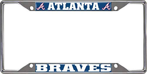 SLS FANMats Atlanta Braves EZ View Design Chrome Frame Metal License Plate Tag Cover Baseball