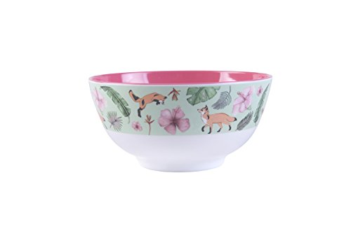 (Original illustrated bowl - large melamine bowl with green fox design)