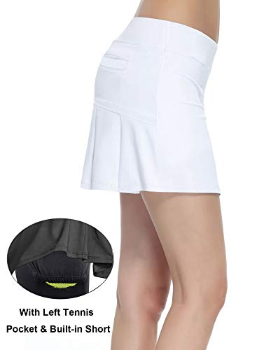 6f1c17df273 Women s Workout Active Skorts Sports Tennis Golf Skirt with Built-in Shorts  Size M (White)