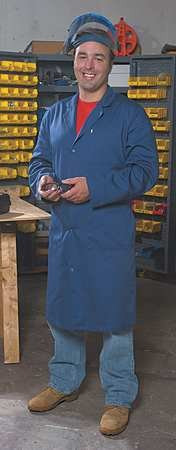 Collared Lab Coat, XL, Navy, 44-1/2 In. L