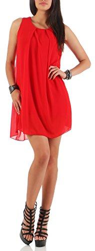 Unica Elegante Malito Chiffon Donna Abito Taglia Senza 6877 Rosso Schienale 4waHqw