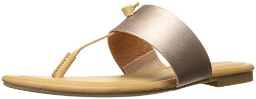 Rampage Women's Paddy Thong T-Bar Knot Memory Foam Insole Slip-On Sandal, Rose/Gold, 8 M US (Rampage Shoes Com)