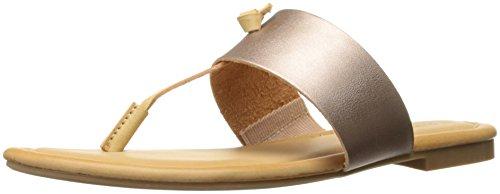 Rampage Women Paddy Thong T-Bar Knot Memory Foam Insole Slip-On Sandal Rose/Gold