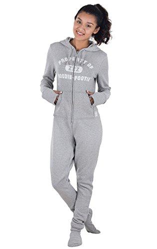 PajamaGram Women's Hoodie-Footie Varsity Onesie Pajamas, Gray, SML (4-6)