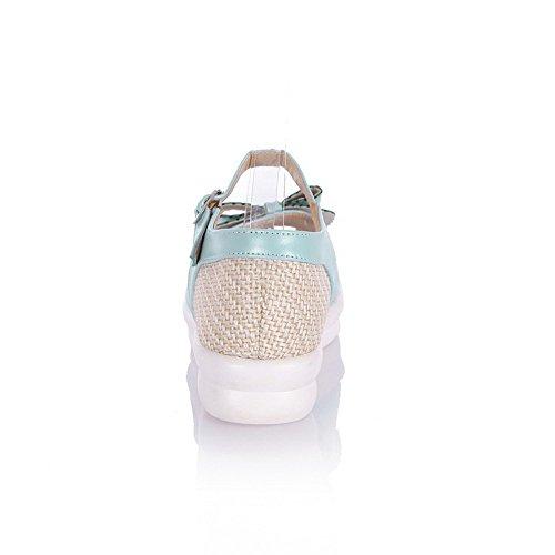 Color Toe Women's Open Sandali Agoolar Buckle Heels Blu Pu Low Assortiti HgfzRqwx