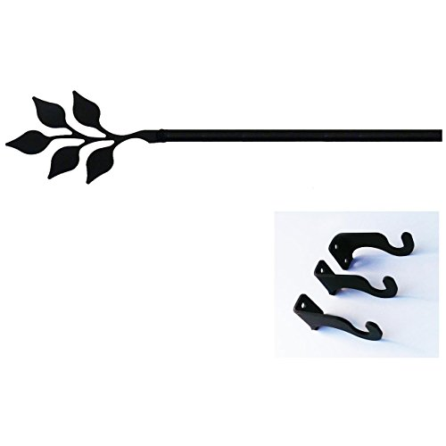 (Village Wrought Iron 60 Inch Leaf Curtain Rod Med)