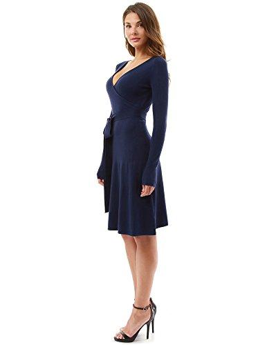 en Manches PattyBoutik V Robe Longues Simili Fonc et Cou Bleu en Femmes drap Tricot Wx6xwrqzn