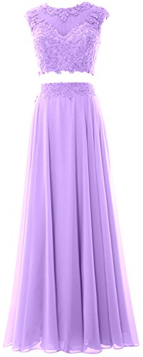 MACloth Women 2 Piece Long Prom Dress Lace Chiffon Formal...
