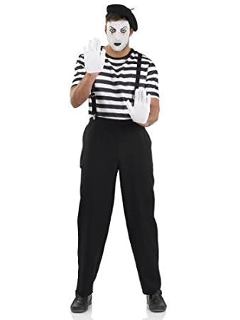 Mens Black u0026 White French Mime Artist Circus Carnival Halloween Fancy Dress Costume Outfit M-  sc 1 st  Amazon UK : a mime costume  - Germanpascual.Com
