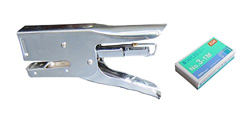 Heavy Duty 20 Sheet Plier Stapler, Manual Plier Stapler,Use No.3-1M (24/6) Staples (1000pcs Staples Included), Chrome Plated Silver