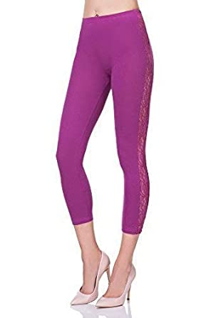 6fda503c80000a FUTURO FASHION® Cropped 3/4 Lenght Cotton Leggings with Lace Active Dance  Pants LPL34: Amazon.co.uk: Clothing
