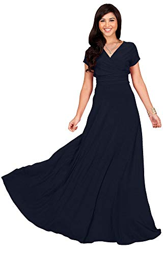 KOH KOH Petite Womens Long Cap Short Sleeve V-Neck Flowy Cocktail Slimming Summer Sexy Casual Formal Sun Sundress Work Cute Gown Gowns Maxi Dress Dresses, Dark Navy Blue S 4-6 ()
