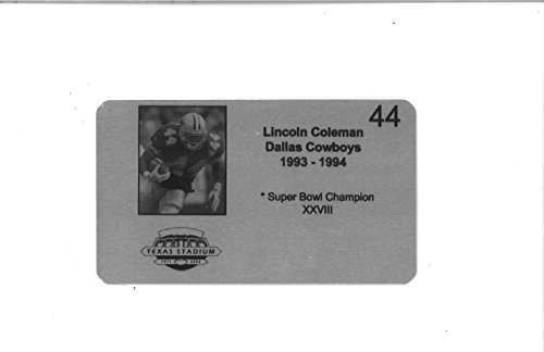 Lincoln Coleman #44 Dallas Cowboys Commemorative Metal Plaque 4x6 Name Plate w/ Stats