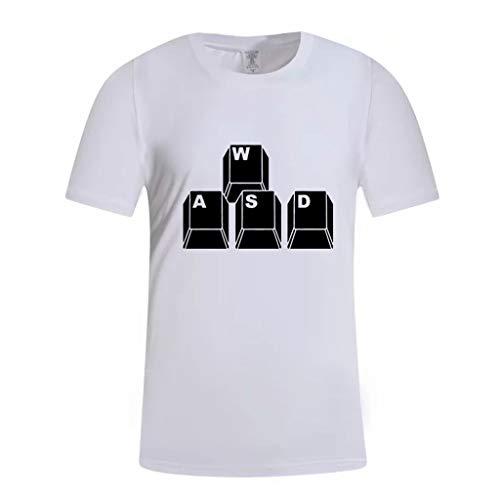 Stoota Summer Blouse Men,T-Shirt Fashion-Casual-Comfort Print-Short Sleeve Tops White
