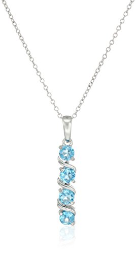 Sterling Silver Genuine Swiss Blue Topaz Four Stone Pendant Necklace, 18