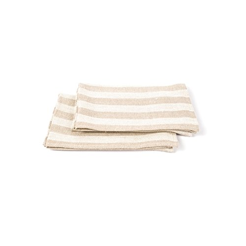 Linenme Linen Lucas Hand And Guest Towels 19 By 28-Inch Natural Striped Set O.. 10