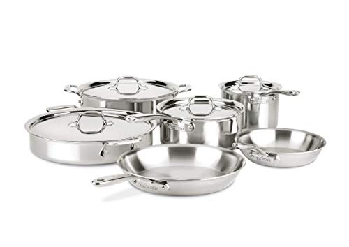 All Clad Stainless Steel Cookware Set - All-Clad ST40010 D3 Compact Stainless Steel Dishwasher Safe Cookware Set, 10-Piece, Silver