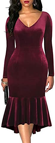 Drimmaks Women's V Neck Velvet Long Sleeve Fit and Flare Mermaid High-Low Trumpet Formal Party D