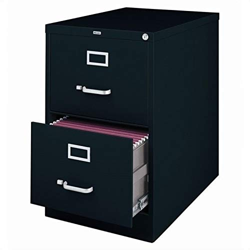 "Hirsh Industries 25"" Deep Vertical File Cabinet 2-Drawer Legal Size, Black, 14413"