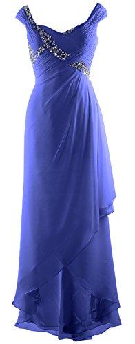 MACloth Elegant V Neck High Low Mother of Bride Dress Maxi Chiffon Formal Gown Horizon