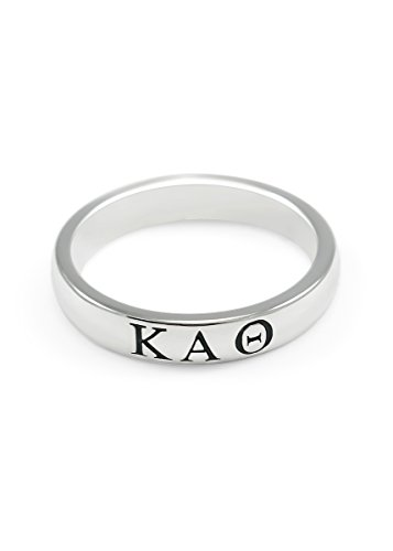 The Collegiate Standard Kappa Alpha Theta Sterling Silver Skinny Band Ring (7.0)