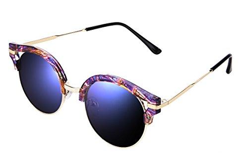 Sunglasses For Women Polarized Over Glasses Mirror Retro Round UV Protection byVATTER ht032FloBlue (Streamline Polarized Sunglasses)