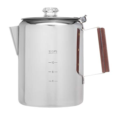 "Coletti""Bozeman"" Percolator Coffee Pot – 12 CUP Stainless Steel"
