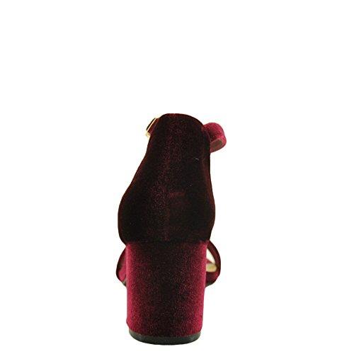 Bamboo Highlight 06S Womens Chunky Heel Velvet Sandals burgundy velvet USQxd