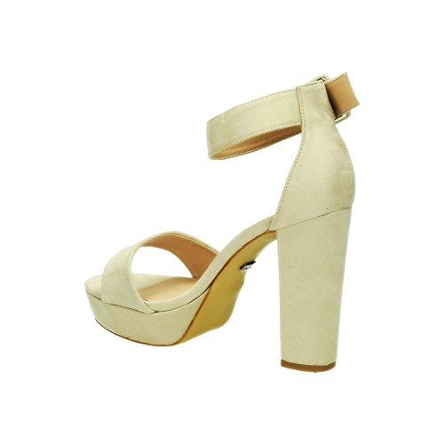 King Of Shoes Sommer Damen Riemchen Abend Sandaletten High Heels Pumps Velours Peep Toes Party Schuhe Blockabsatz 007 Beige