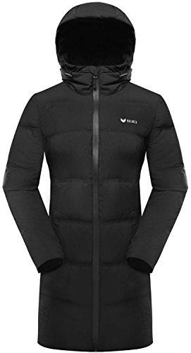 Valuker Women's Seamless Down Coat Hooded Puffer Parka Jacket 11-Black-M