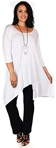 Dare2BStylish Women Plus Size Asymmetrical Long Tunic Shirt Dress Top (1X/2X, White)