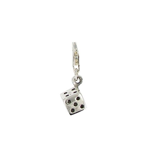 Les Poulettes Jewels - Sterling Silver Charms - Dice with Black - 038 Chaos