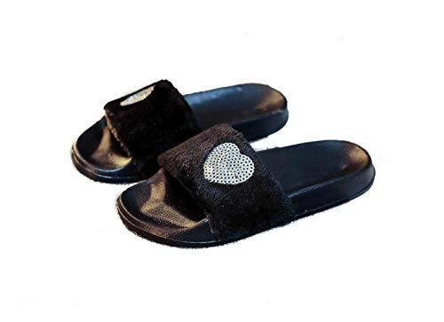 - Women's Flip Flop Faux Fur Soft Slide Flat Slipper Black 7-7.5 B(M) US.