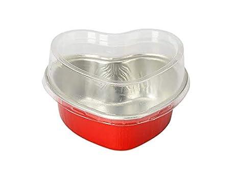 kitchendance Mini de aluminio desechables 3,5 oz con forma de corazón pastel sartenes/sartenes de postre con lids- Pack de 100: Amazon.es: Hogar