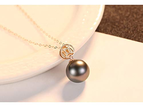 (Women Necklace/Pendant with Chain 18 ct/750 Gold with White Akoya Pearl/Black Tahitian Pearl Quality Round Pearl with Jewelry Box is Included for Free,Black)