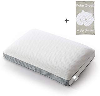 POLAR SLEEP Memory Foam Sleeping,2-in-1 Bamboo Charcoal Ventilated, for Back, Stomach, Side Sleepers,Hypoallergenic Antimicrobial Ergonomic Orthopedic Cooling Gel Pillow, White