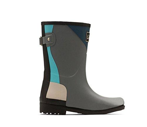 Spring and Summer Anti-slip High-end Stitching Geometry Trend Rain Boots Dark Gray hjv6UlduZ